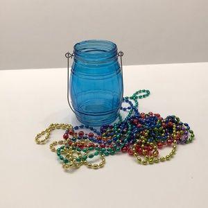 🔹Sea Blue Mason Jar Candle Holder